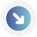 arrow, circle, down, interface, next, right, user icon