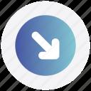 arrow, circle, down, interface, next, right, user