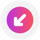 arrow, circle, down, forward, interface, left, user icon