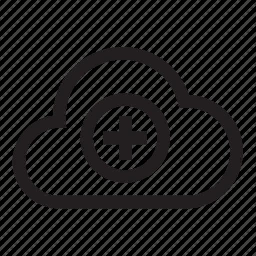 add, cloud, hosting, plus, storage icon