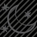 clear night, half moon, night sky, night time, night weather, shiny night icon