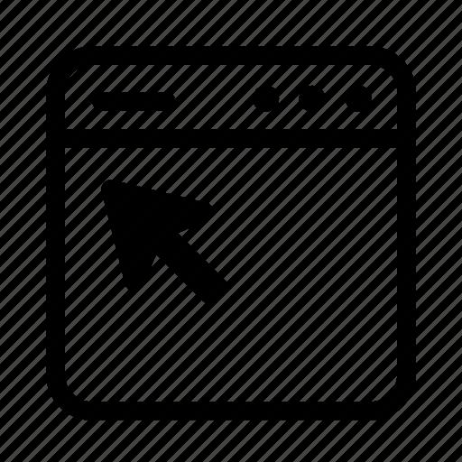 arrow, click, interface, screen, user, user interface, window icon