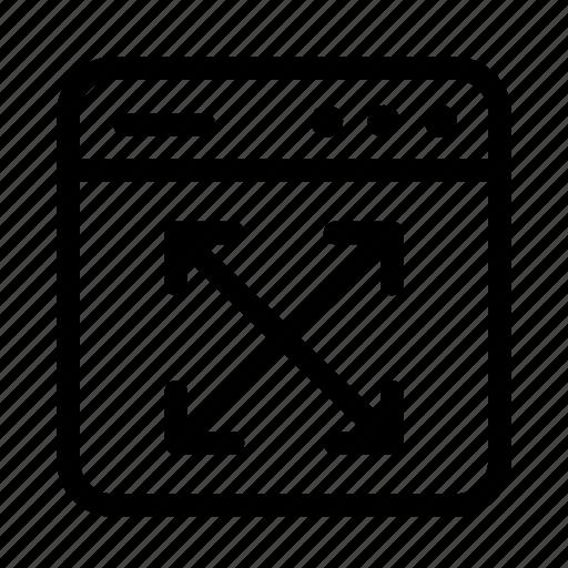 arrows, expand window, interface, screen, user, user interface, window icon