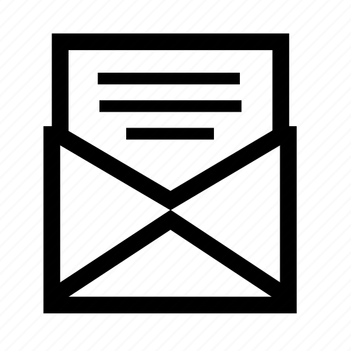 email, envelope, line, mail, message, post, send icon