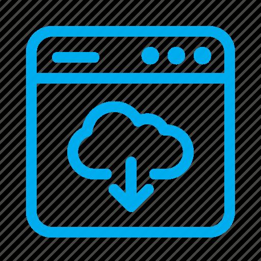 cloud server, cyan, download, interface, ui, user, user interface icon