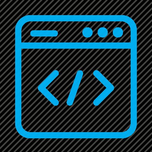 coding, cyan, interface, ui, user, user interface, web development icon