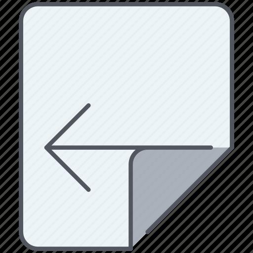 backward, close, fold, left, navigation, page, previous icon