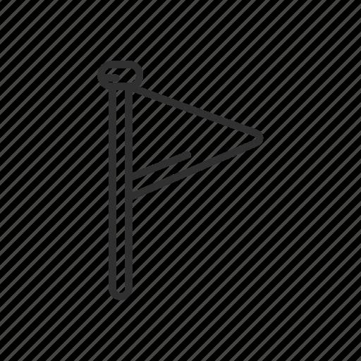 flag, flag pole, label, mark, tag, triangle flag, warning icon