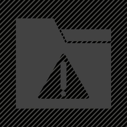 alert, caution, exclamation, folder, mark, warning icon