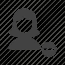 delete, female, image, picture, profile, remove, settings icon