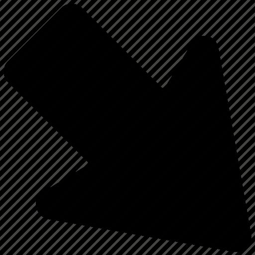 arrow, arrow hint, arrow pointing, directional arrow, down right icon
