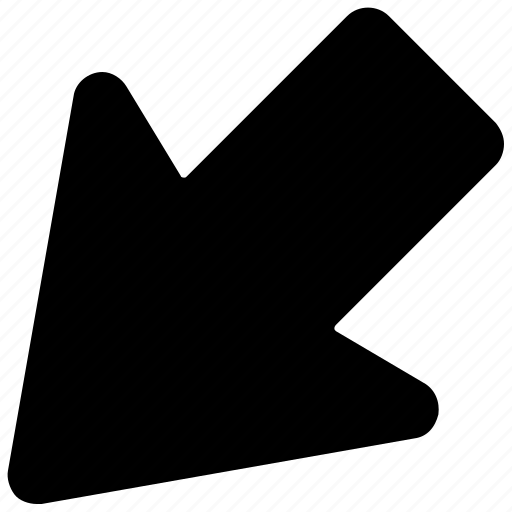 arrow, arrow hint, arrow pointing, directional arrow, down left icon