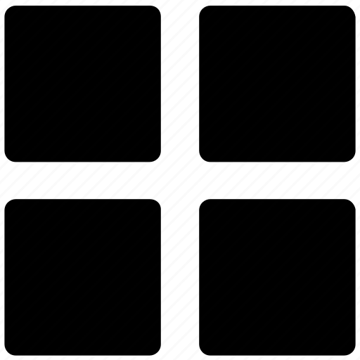 four squares, grid, layout, squares, web design element icon