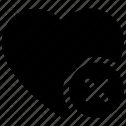 delete sign, favorite, heart, love heart, valentine heart icon