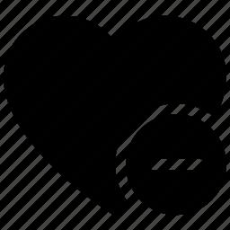 favorite, heart, love heart, remove sign, valentine heart icon