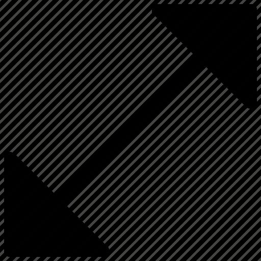arrow, arrow indication, arrow pointing, diagonal direction, two head arrow icon