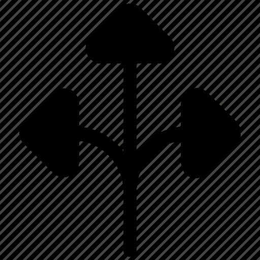 arrow guide, arrow hint, directional arrows, road sign, three way icon