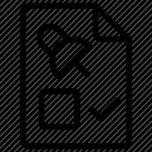 attach, checklist, document, file icon