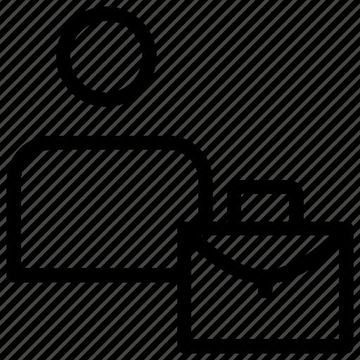 bag, employee, portfolio, user icon