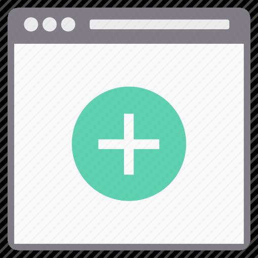 browser, design, page, plus, web, webpage icon
