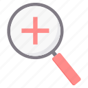 add, find, magnifier, plus, search, zoom icon