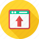 arrow, design, document, page, upload, web, website icon