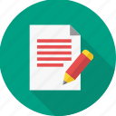 edit, note, page, paper, pen, sheet, write icon