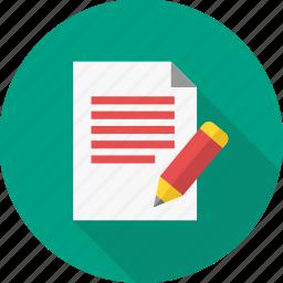edit, note, page, paper, pen, sheet, write icon