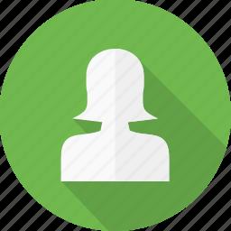 account, contact, female, girl, person, profile, user icon
