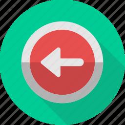 arrow, back, backward, left, mark, move, sign icon