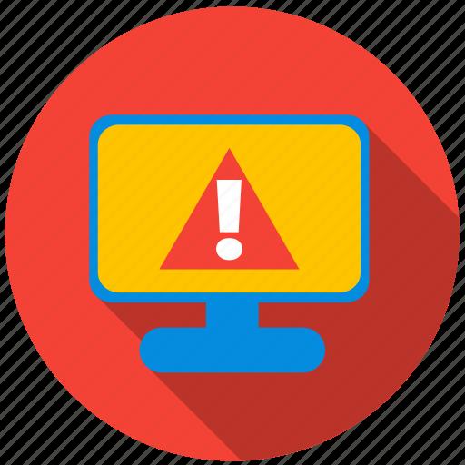 application, danger, monitor, program, screen, virus icon