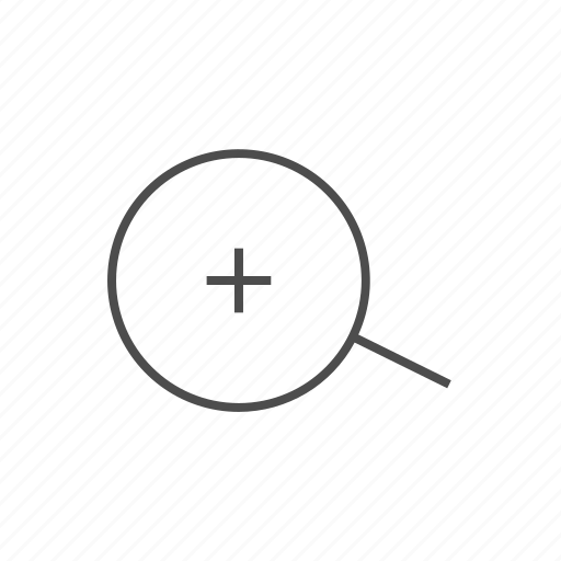magnifying glass, plus sign, positive, zoom, zoom in, zoom in fine line icon