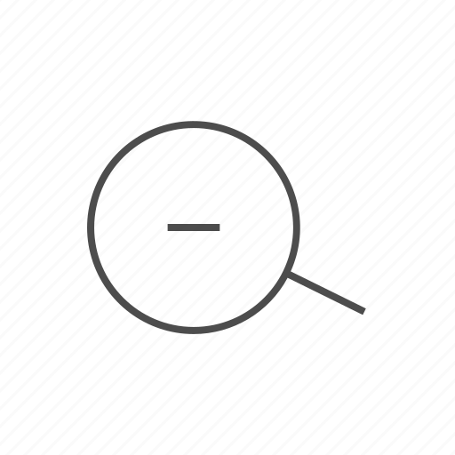 magnifying glass, minus sign, negative, zoom, zoom out, zoom out fine line icon