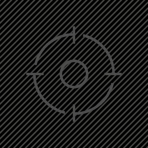 circle fine line, location, marker, shot, target, target fine line icon