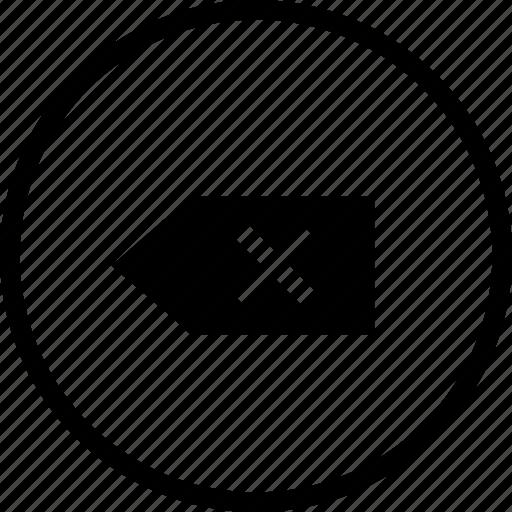 back, backward, exit, interface, label, tag icon