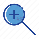 find, magnifier, search, zoom, zoom in icon