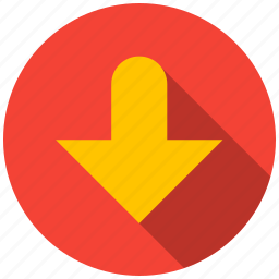 arrow, bottom, destination, direction, point, travel icon