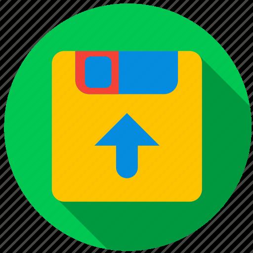 data, disc, floppy disk, information, media, upload icon