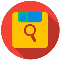 data, disc, floppy disk, information, media, search icon