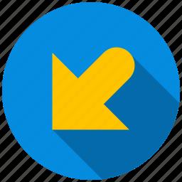 arrow, bottom, destination, direction, left, travel icon