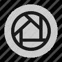 circle, circular, document, file, photography, shutter, web icon
