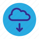 circle, cloud, document, download, file, user interface, web icon