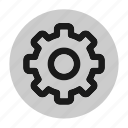 circle, cog, cogwheel, gear, settings, user interface, web icon
