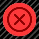 cancel, circle, delete, document, file, user interface, web icon