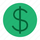 circle, coin, currency, dollar, money, user interface, web icon