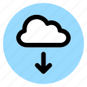 circle, cloud, download, round, user interface, web icon