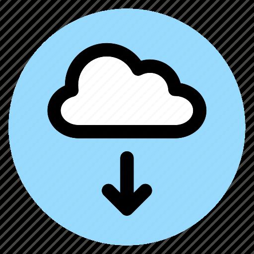 circle, cloud, download, round, user interface, web icon