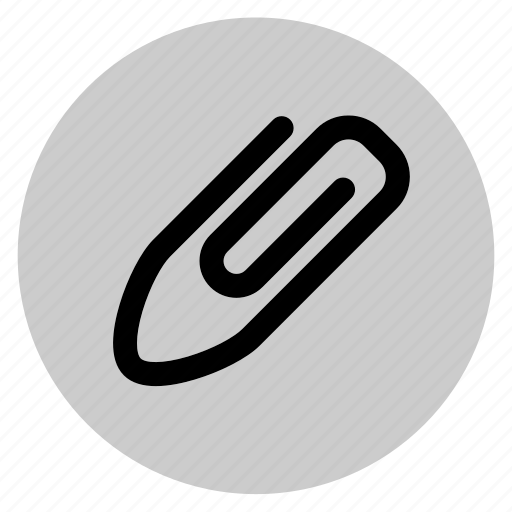 attached, attachment, circle, paperclip, round, user interface, web icon