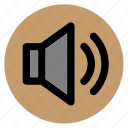 audio, circle, round, sound, speaker, user interface, web icon