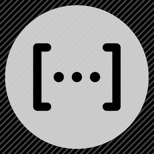 brackets, circle, data, dots, parentheses, user interface, web icon